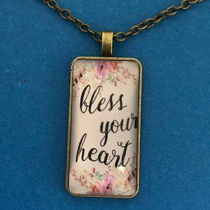 """Bless Your Heart"" Antique Bronze Pendant Necklace"